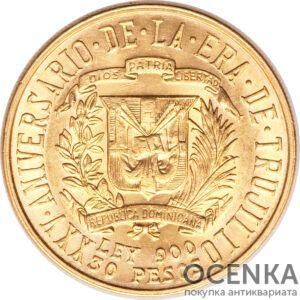 Золотая монета 30 Песо (30 Pesos) Доминикана