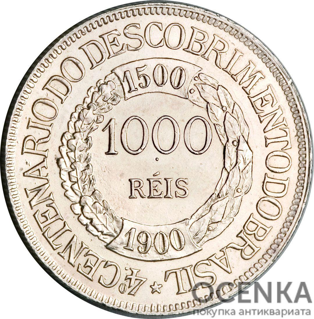 Серебряная монета 1000 реалов (1000 Réis) Бразилия