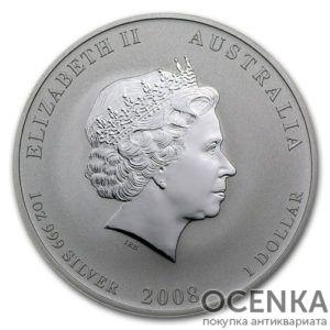 Серебряная монета 1 доллар 2008 год. Австралия. Лунар. Год Крысы