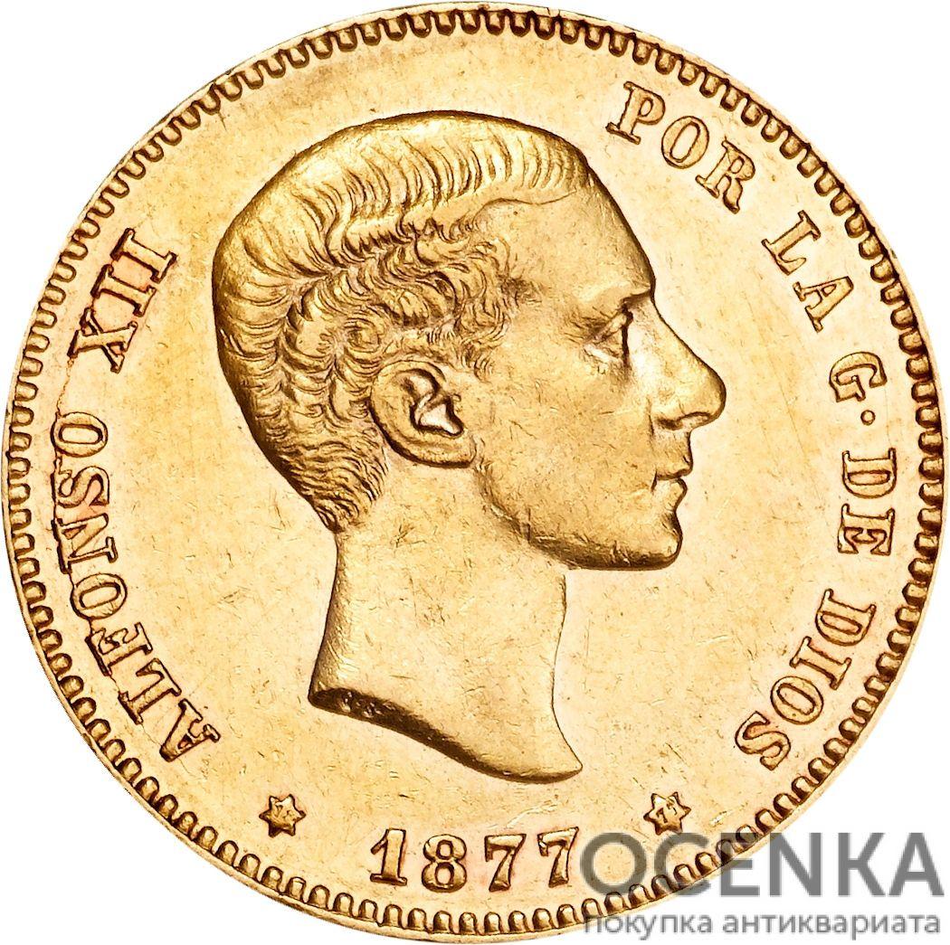 Золотая монета 25 Песет (25 Pesetas) Испания - 1