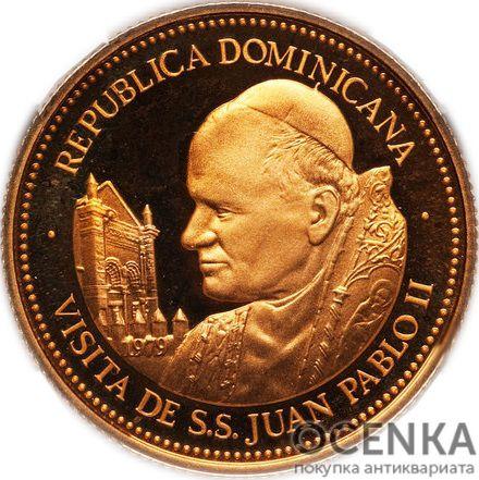 Золотая монета 100 Песо (100 Pesos) Доминикана - 3