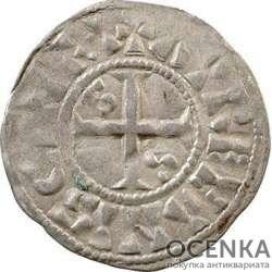 Медная монета Денье Средневековой Европы