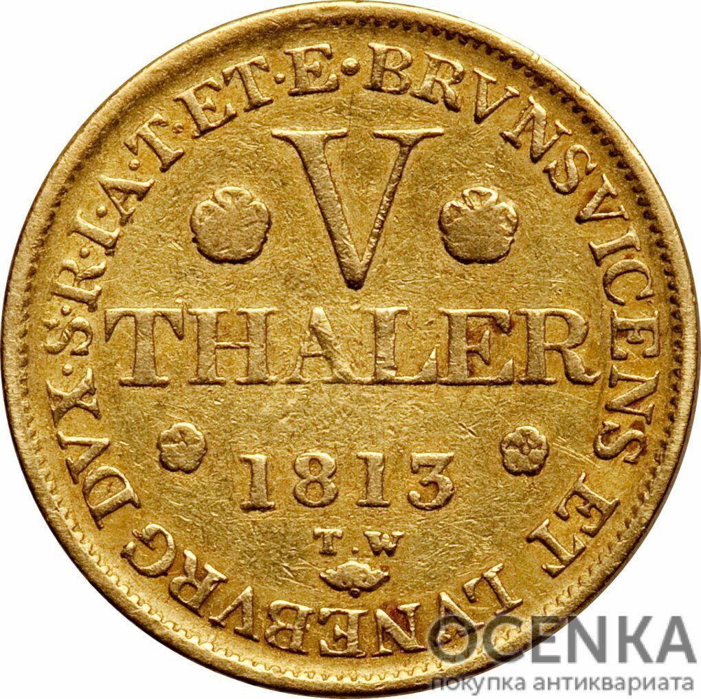 Золотая монета 5 Талеров Германия - 2