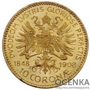 Золотая монета 10 крон Австро-Венгрии
