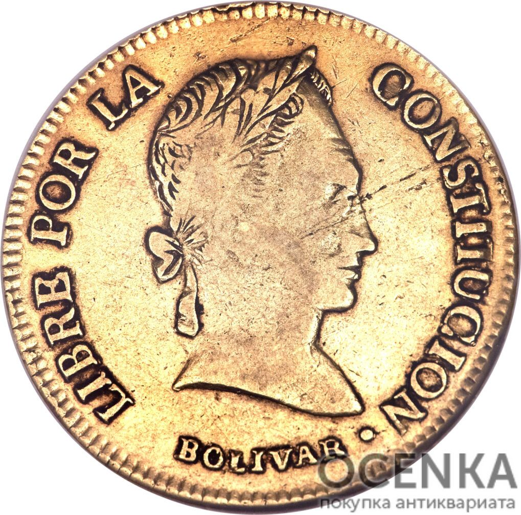 Золотая монета 4 скудо (4 Scudos) Боливия - 1