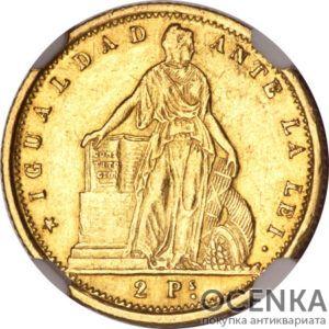 Золотая монета 2 Песо (1 Pesos) Чили