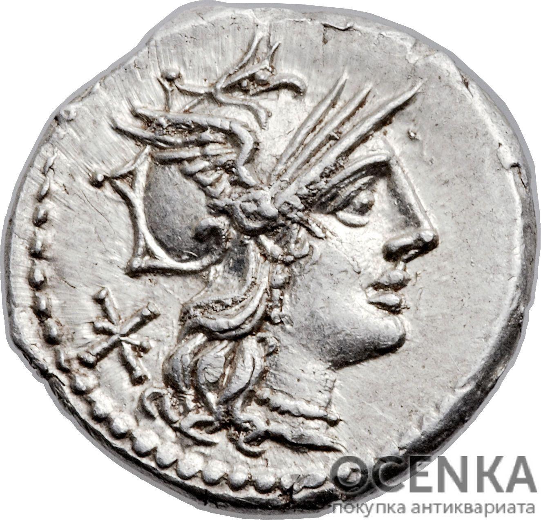 Серебряный Республиканский Денарий Публия Мения Анциата, 132 год до н.э.