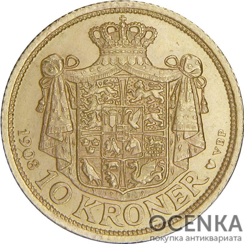 Золотая монета 10 Крон (10 Kroner) Дания - 2