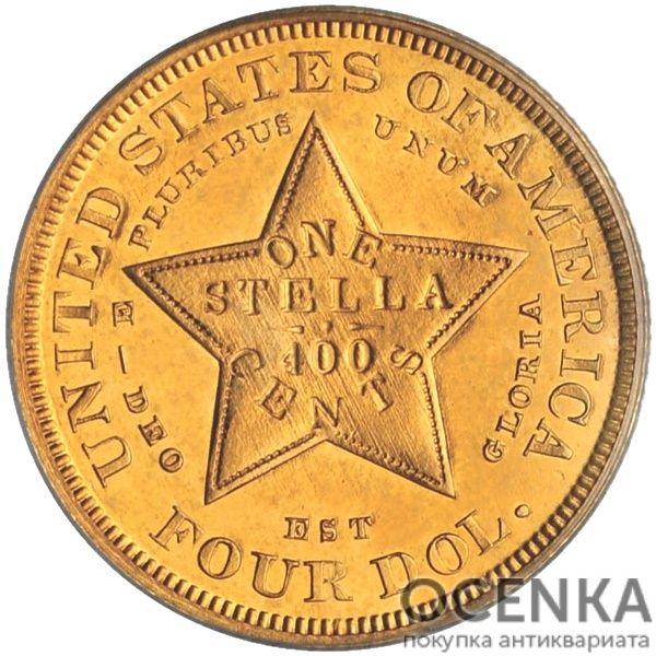 Золотая монета 4 Dollars (4 доллара) США