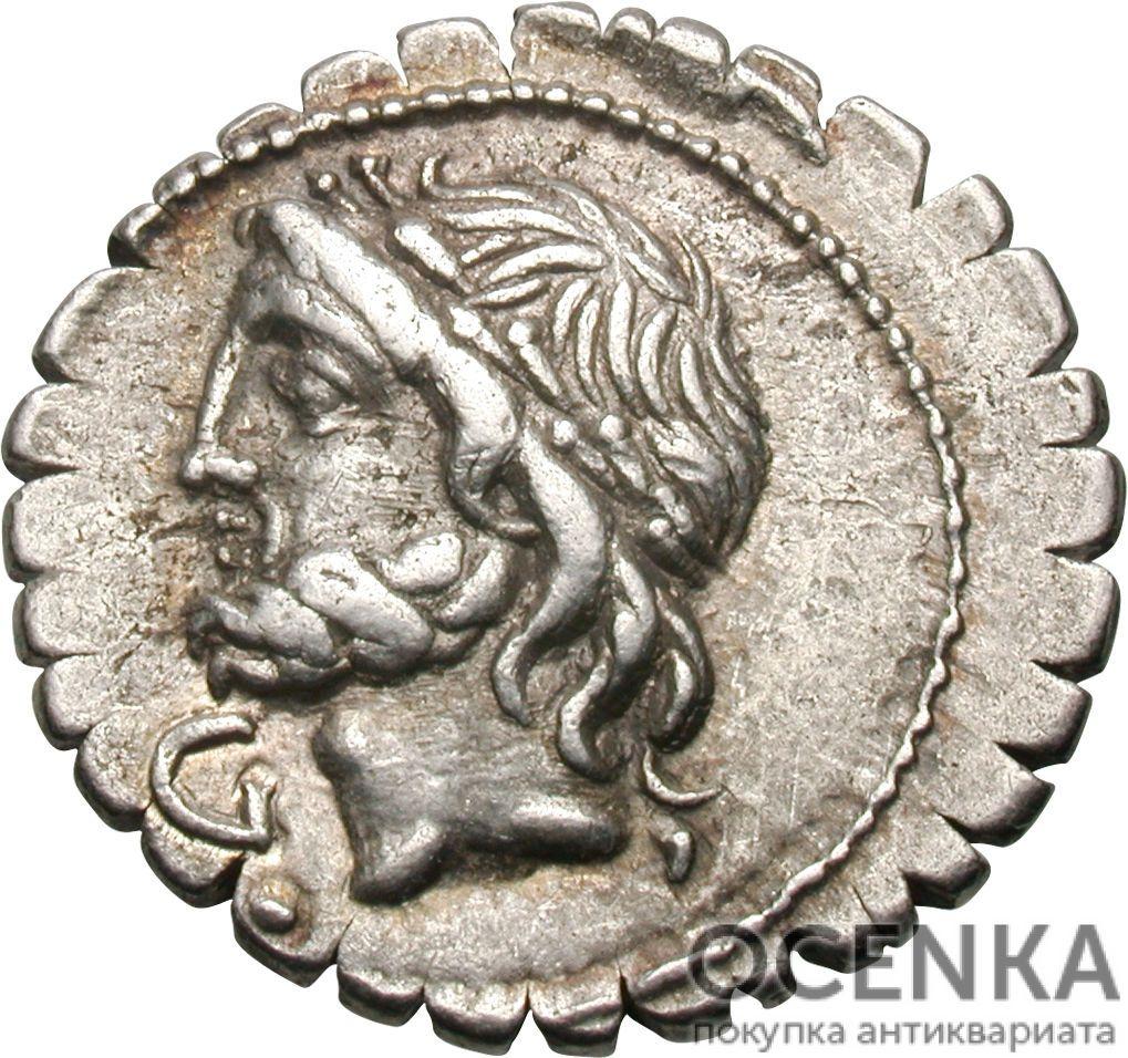 Серебряный Республиканский Денарий Луция Корнелия Сципиона Азиатского, 106 год до н.э.