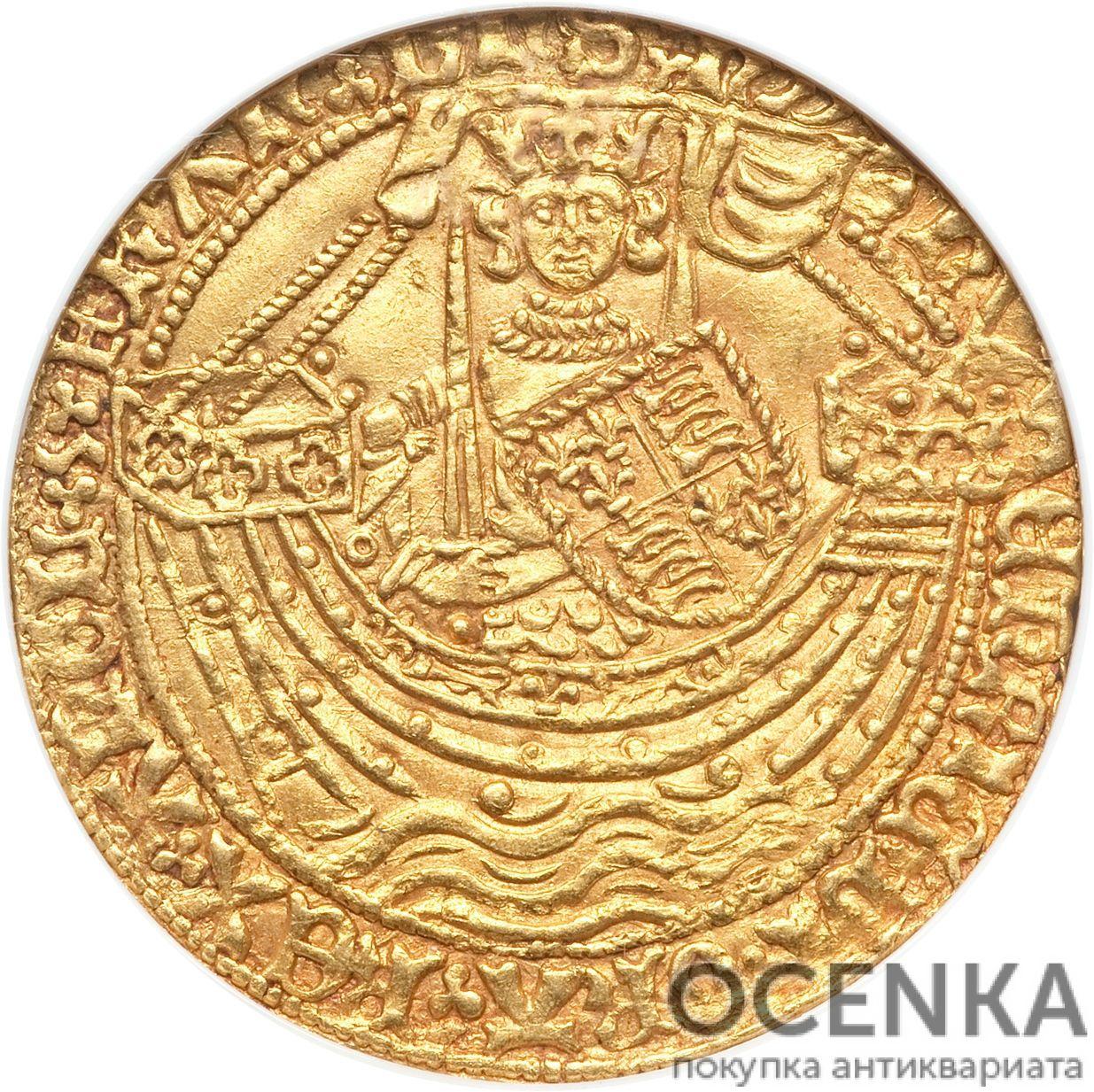 Золотая монета 1 Noble (нобль) Великобритания - 8