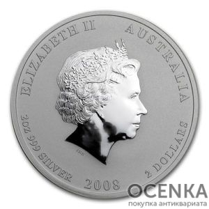 Серебряная монета 2 доллара 2008 год. Австралия. Лунар. Год Крысы
