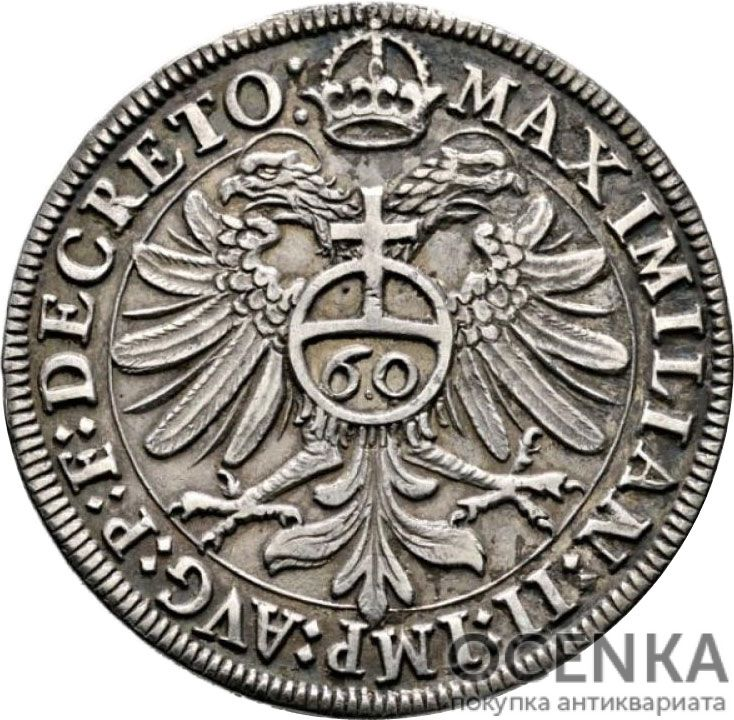 Серебряная монета 60 Крейцеров (60 Kreuzer) Германия