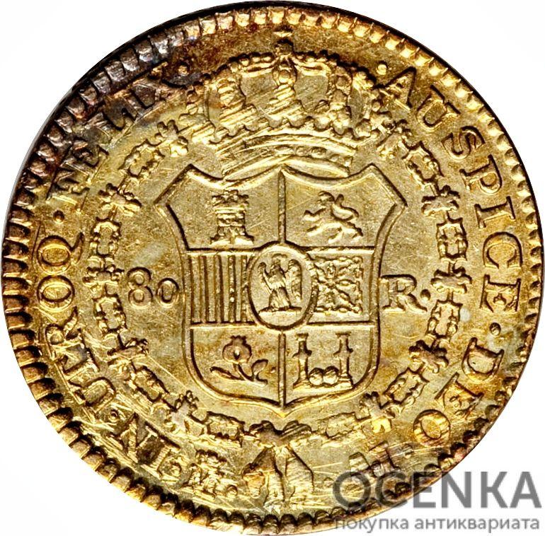 Золотая монета 80 Реалов (80 Reales) Испания