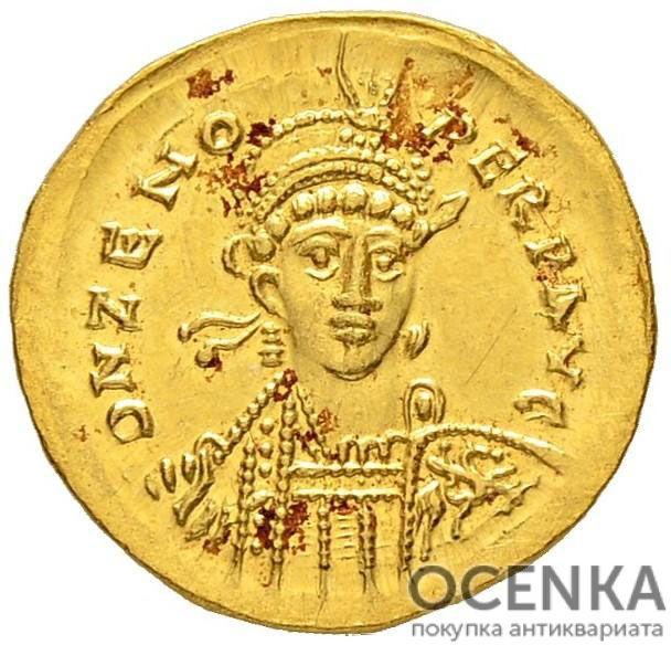 Золотой солид Византии, Флавий Зенон, 474-491 год
