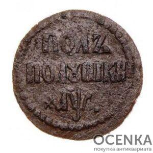 Медная монета Полполушки Петра I