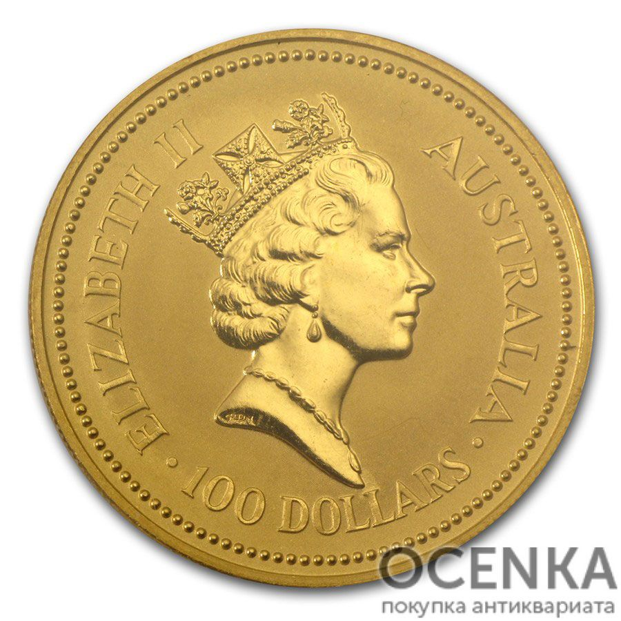 Золотая монета 100 долларов 1988 год. Австралия. Самородки - 1