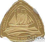 Золотая монета 3 доллара Бермудских островов - 2