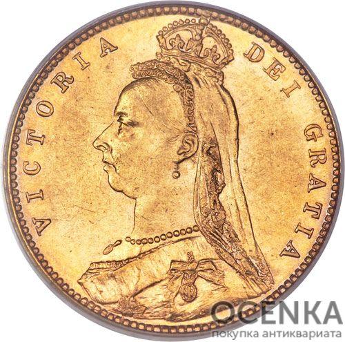 Золотая монета Полсоверена 1887, 1889, 1891, 1893 годов. Австралия. Королева Виктория