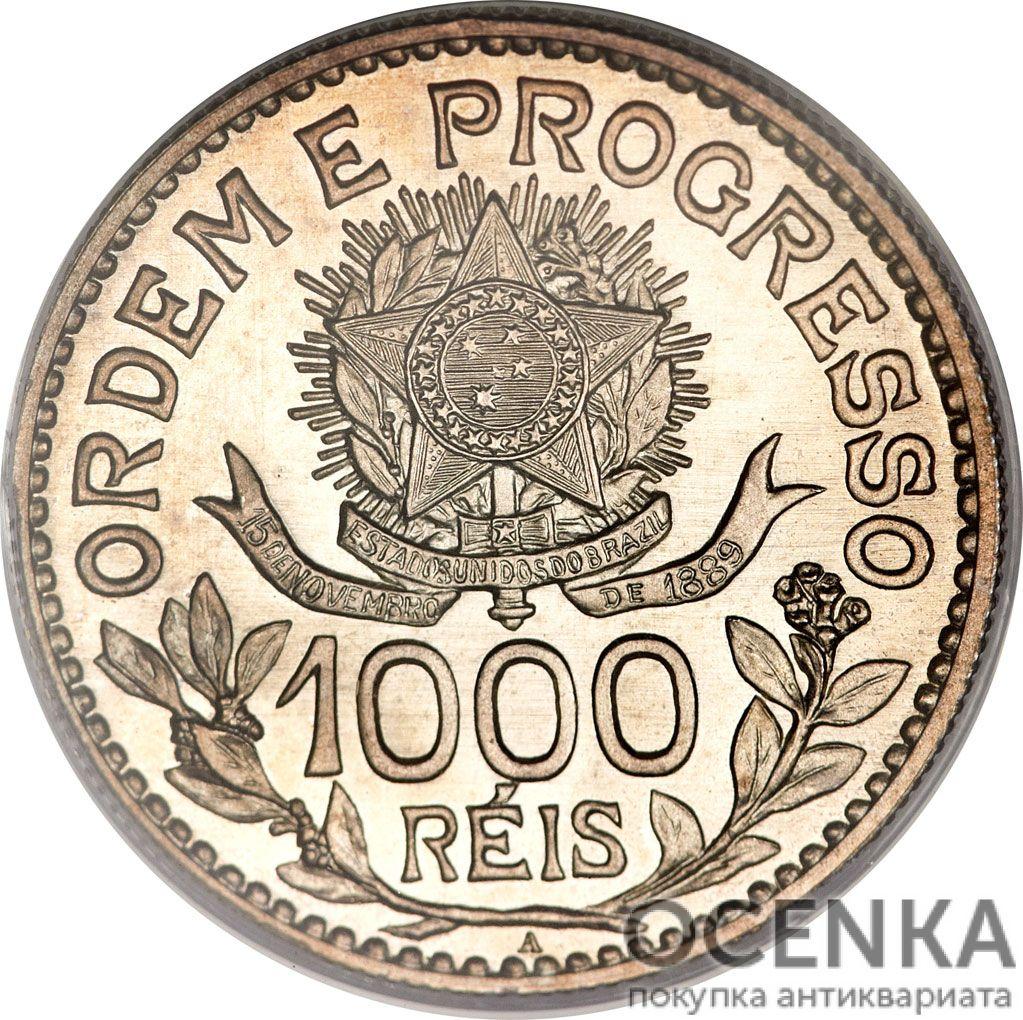 Серебряная монета 1000 реалов (1000 Réis) Бразилия - 2