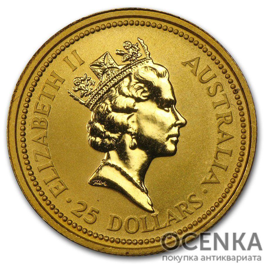 Золотая монета 25 долларов 1990 год. Австралия. Красный кенгуру - 1