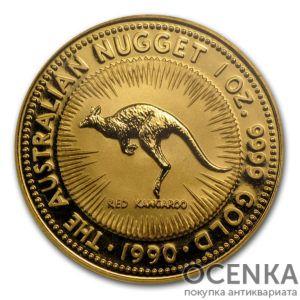 Золотая монета 100 долларов 1990 год. Австралия. Красный кенгуру