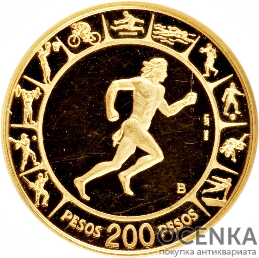 Золотая монета 200 Песо (200 Pesos) Колумбия - 4