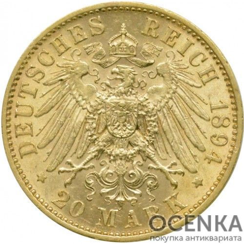 Золотая монета 20 Марок Германия - 4