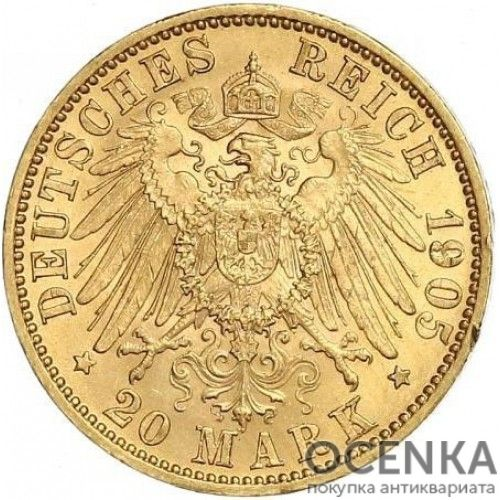 Золотая монета 20 Марок Германия - 8