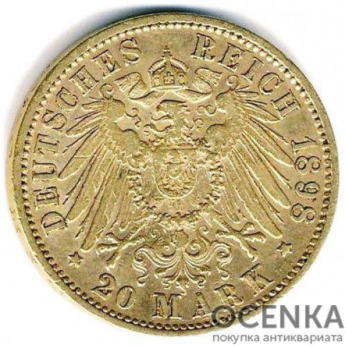 Золотая монета 20 Марок Германия - 6