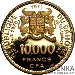 Золотая монета 10000 Франков Бенина