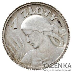 Серебряная монета 1 Злотый (1 Złoty) Польша