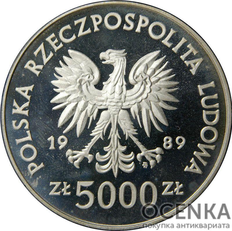 Серебряная монета 5000 Злотых (5000 Złotych) Польша