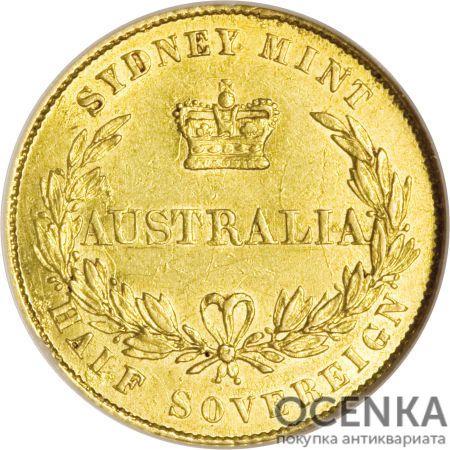 Золотая монета Полсоверена 1855-1856 годов. Австралия. Королева Виктория - 1
