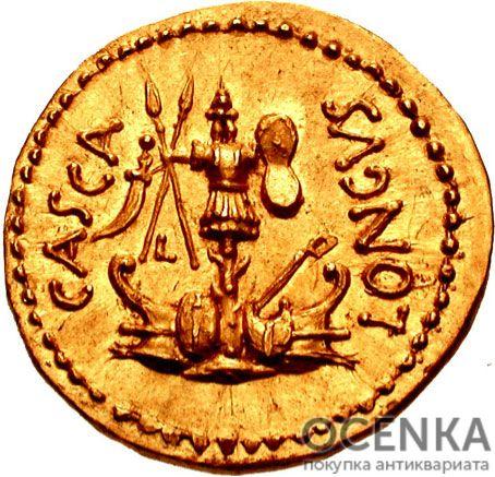 Золотой ауреус, Марк Юний Брут, 43-42 год до н.э. - 1