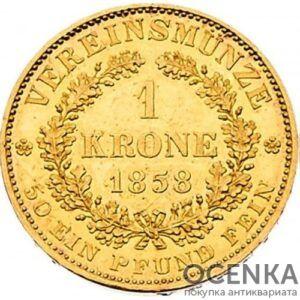 Золотая монета 1 крона Австро-Венгрии