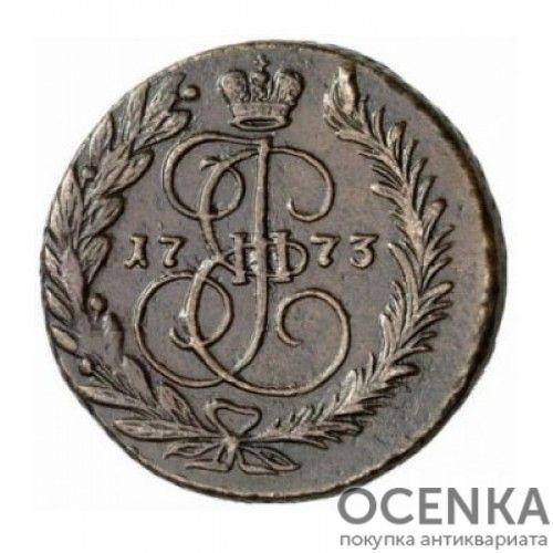 Медная монета 2 копейки Екатерины 2 - 3