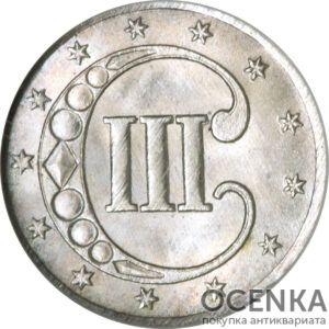 Серебряная монета 3 цента США