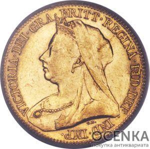 Золотая монета Полсоверена 1893, 1896, 1897, 1900 годов. Австралия. Королева Виктория в Киеве