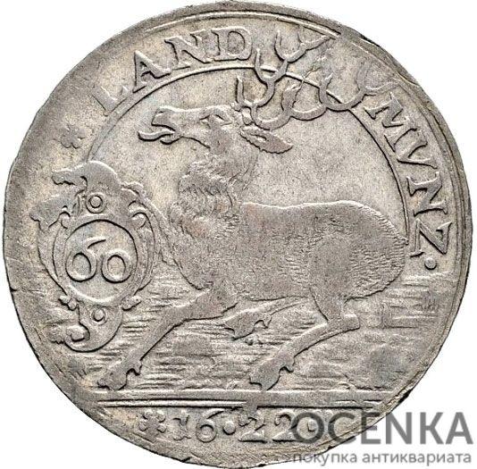 Серебряная монета 60 Крейцеров (60 Kreuzer) Германия - 6