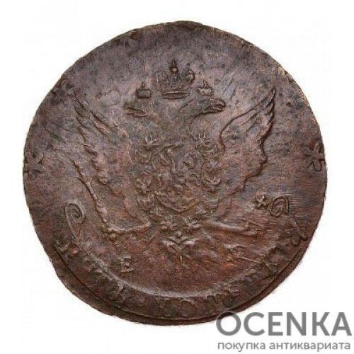 Медная монета 5 копеек Екатерины 2 - 2