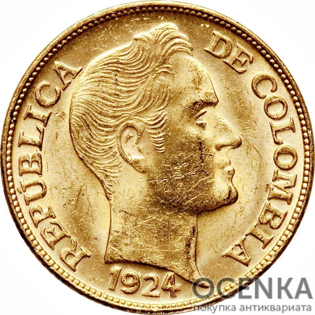 Золотая монета 5 Песо (5 Pesos) Колумбия - 1