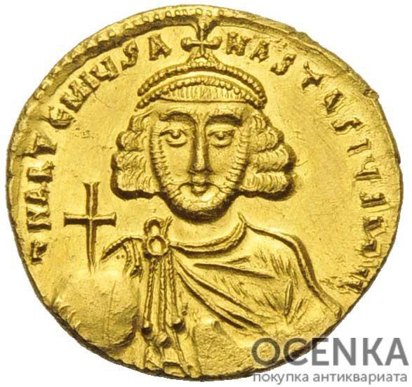 Золотой солид Византии, Анастасий II, 713-715 год