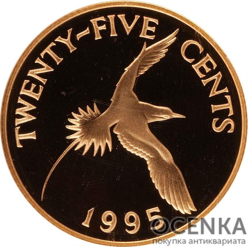 Золотая монета 25 центов Бермудских островов