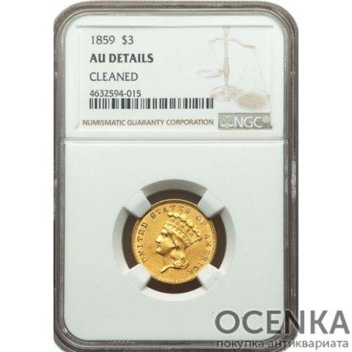 Золотая монета 3 Доллара США в слабе