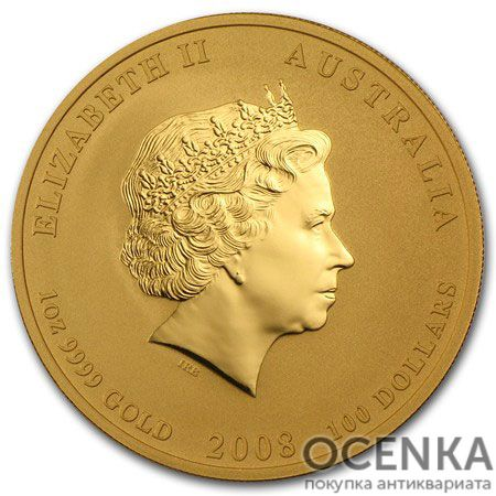 Золотая монета 100 долларов 2008 год. Австралия. Лунар. Год Крысы