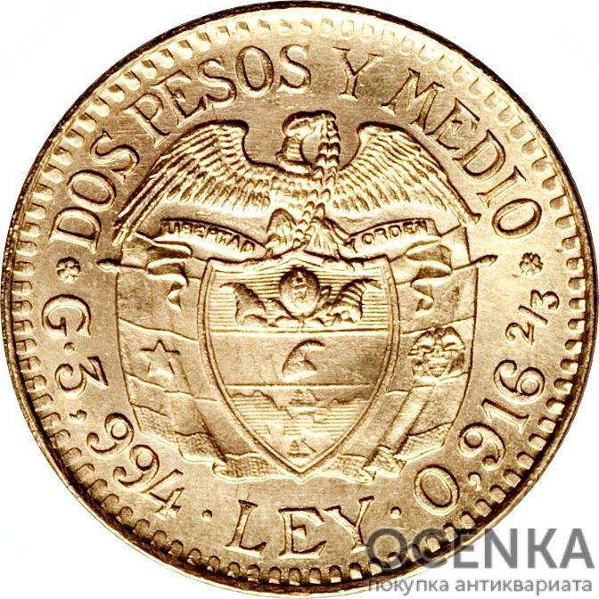 Золотая монета 2½ Песо (2½ Pesos) Колумбия - 4