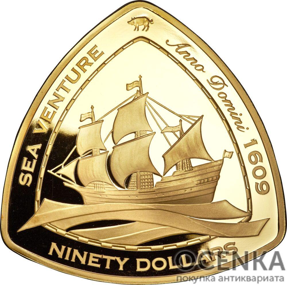 Золотая монета 90 долларов Бермудских островов