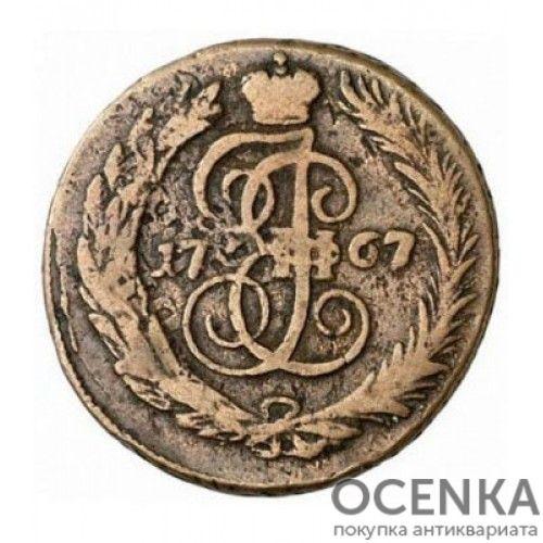 Медная монета 1 копейка Екатерины 2 - 3
