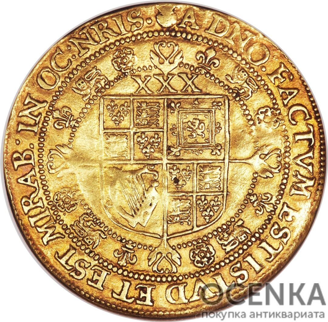 Золотая монета 1 Rose-ryal (розенобль) Великобритания - 3